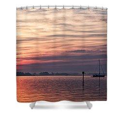 Sailboat At Dawn Shower Curtain