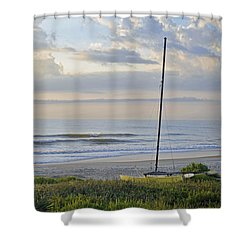 Sailboat At Dawn Shower Curtain