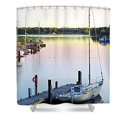 Sailboat At Sunrise Shower Curtain