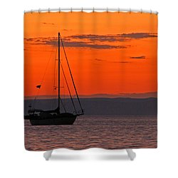 Sailboat At Sunset Shower Curtain