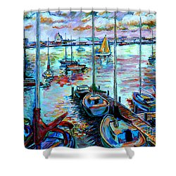 Sailboat Harbor Shower Curtain by Stan Esson