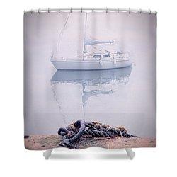 Sailboat In Fog Shower Curtain by Jill Battaglia