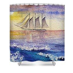 Sailboat In The Ocean Shower Curtain by Irina Sztukowski