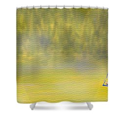 Sailboat On A Yellow Sea Shower Curtain by Ian  MacDonald