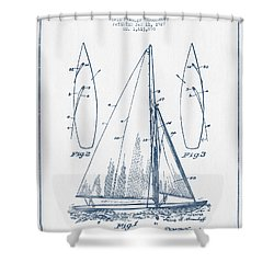 sailboat patent drawing from blue ink shower curtain by aged pixel