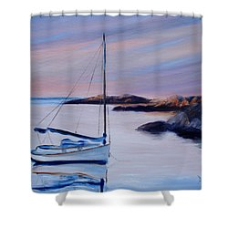Sailboat Reflections I Shower Curtain by Donna Tuten