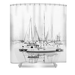 Sailboat Row  B/w Hi-key Shower Curtain