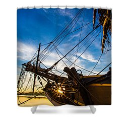 Sailboat Sunrise Shower Curtain by Robert Bynum