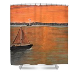 Sailboat Sunset Shower Curtain
