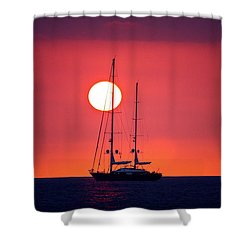 Sailboat Sunset Shower Curtain by Venetia Featherstone-Witty