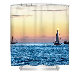 Sailboats At Sunset Off Key West Florida Shower Curtain