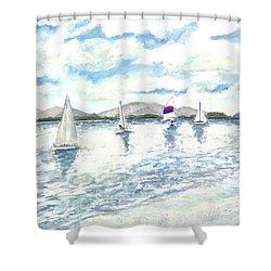 Sailboats Shower Curtain by Derek Mccrea