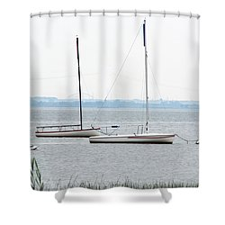 Sailboats In Battery Park Harbor Shower Curtain
