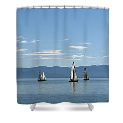 Sailboats In Blue Shower Curtain