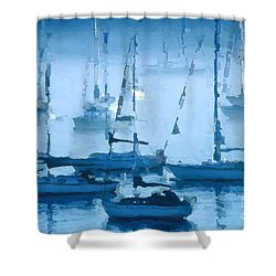 Sailboats In The Fog II Shower Curtain