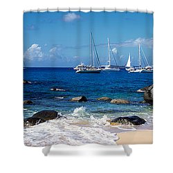 Sailboats In The Sea, The Baths, Virgin Shower Curtain by Panoramic Images