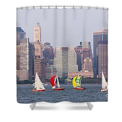 Sailboats On The Hudson I Shower Curtain by Clarence Holmes