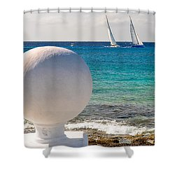 Sailboats Racing In Cozumel Shower Curtain by Mitchell R Grosky