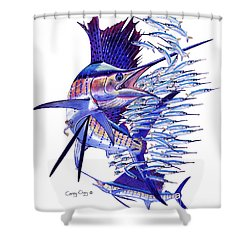Sailfish Ballyhoo Shower Curtain by Carey Chen