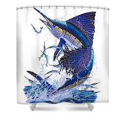 Sailfish Shower Curtain by Carey Chen