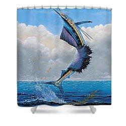 Sailfish Dance Off0054 Shower Curtain by Carey Chen