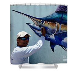 Sailfish Splash Park 3 Shower Curtain by Carey Chen