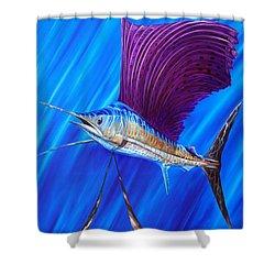 Sailfish Shower Curtain by Steve Ozment