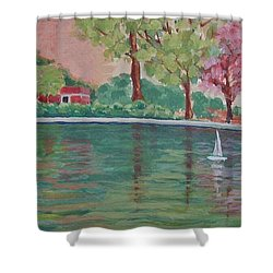 Sailin' Away In Central Park Shower Curtain by Margaret Bobb