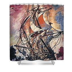 Sailing 2  Shower Curtain by Andrzej Szczerski