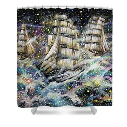 Sailing Among The Stars Shower Curtain