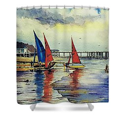Sailing At Penarth Shower Curtain by Andrew Read
