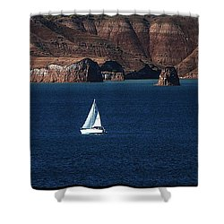 Sailing At Roosevelt Lake On The Blue Water Shower Curtain by Tom Janca