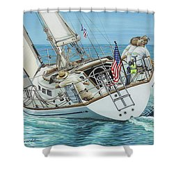 Sailing Away Shower Curtain by Jane Girardot