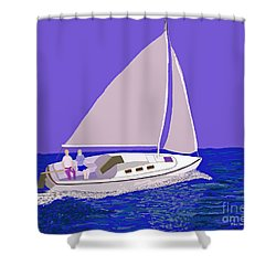 Sailing Blue Ocean Shower Curtain by Fred Jinkins