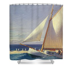 Sailing Boat Shower Curtain by Edward Hopper