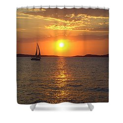 Sailing Boat In Ibiza Sunset Shower Curtain