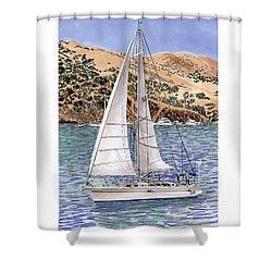 Sailing Catalina Island Sailing Sunday Shower Curtain by Jack Pumphrey