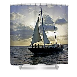 Sailing In Aruba Shower Curtain