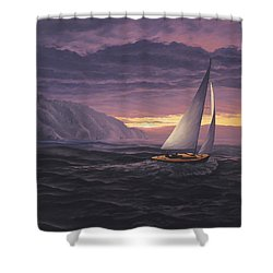 Sailing In Paradise - Big Sur Shower Curtain
