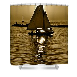 Sailing In Sepia Shower Curtain by Frozen in Time Fine Art Photography