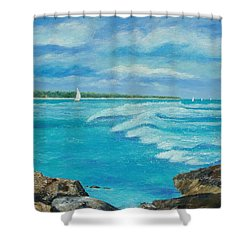 Shower Curtain featuring the painting Sailing In The Bay by Susan DeLain