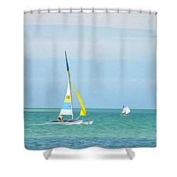 Sailing In The Gulf Of Mexico Shower Curtain by Bill Cannon