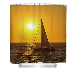 Sailing Into The Sunset Shower Curtain by Aged Pixel
