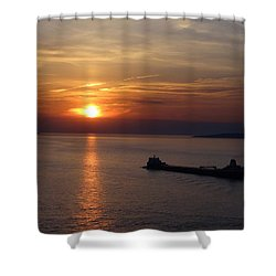 Sailing Into The Sunset Shower Curtain by Keith Stokes