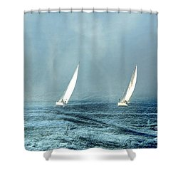 Sailing Into The Unknown Shower Curtain by Andrea Kollo