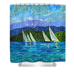 Sailing Shower Curtain by Laura Forde