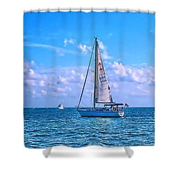 Sailing Off Of Key Largo Shower Curtain