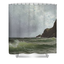 Sailing Off The Coast Shower Curtain by Alfred Thompson Bricher