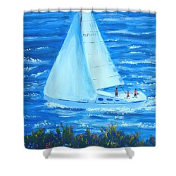 Sailing Off The Coast Shower Curtain