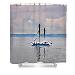 Shower Curtain featuring the photograph Sailing On A Misty Morning Art Prints by Valerie Garner